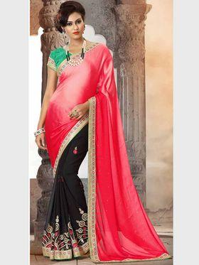 Viva N Diva Crepe Silk & Georgette Floral Embroidery Saree -Riwaaz-Again-9006