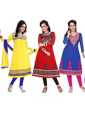 Combo of 3 Florence Embroidered Cotton Dress Material SB-2815
