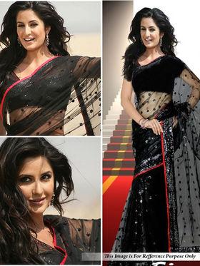 Pack Of 2 Arisha Net With Inner Embroidered Saree - Black & Beige