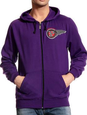 Brohood Cotton Blend Full Sleeves Casual Sweatshirt For Men - Purple