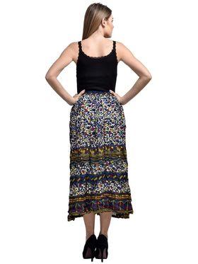 Arisha Cotton Printed Skirt SKT9011-Multi-Blu
