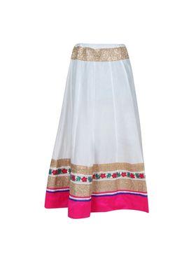 Amore Plain Cotton Embellished Skirt -Skv052W