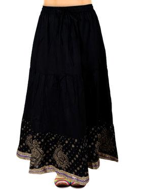 Amore Printed Cotton Skirt -SKV215BK