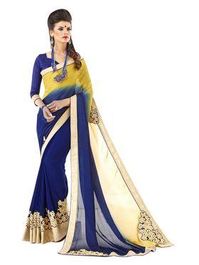 Khushali Fashion Embroidered Gerogette Half & Half Saree_KF57