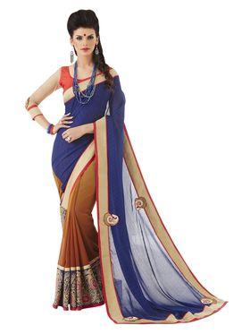 Khushali Fashion Embroidered Georgette Half & Half Saree_KF69