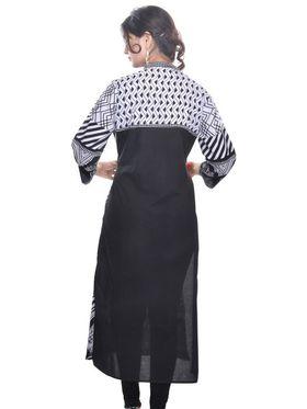 Shop Rajasthan 100% Pure Cotton Printed Kurti - Black - SRE2227