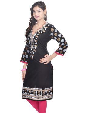 Shop Rajasthan 100% Pure Cotton Printed Kurti - Black - SRE2255