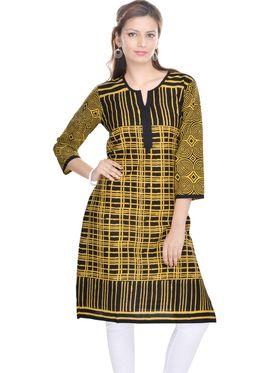 Shop Rajasthan 100% Pure Cotton Printed Kurti - Black and Yellow - SRE2285