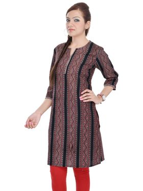 Shop Rajasthan 100% Pure Cotton Printed Kurti - Maroon and Black - SRE2307