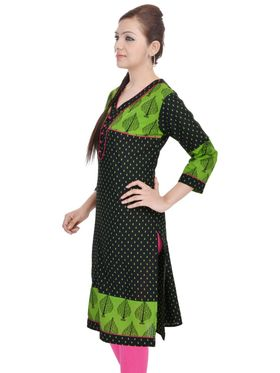 Shop Rajasthan 100% Pure Cotton Printed Kurti - Green - SRE2314
