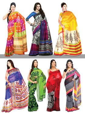 Shreya Collection of 3 Georgette, 2 Art Silk & 2 Kota Doria Sarees