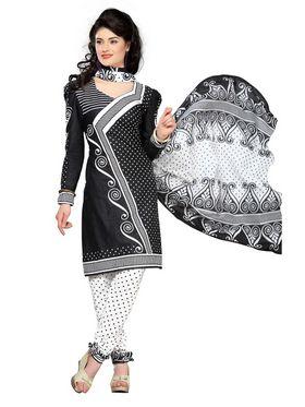Silkbazar Printed Cotton Dress Material - Black & White - SB-1513