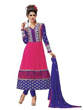 Silkbazar Embroidered Pure Georgette Anarkali Semi-Stitched Dress Material - Pink-SB-1351