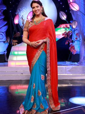 Stunning Red & Blue Saree from Aaha Enna Porutham (1603)