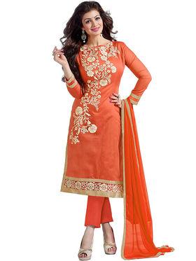 Thankar Semi Stitched  Chanderi Cotton Embroidery Dress Material Tas290-5307G