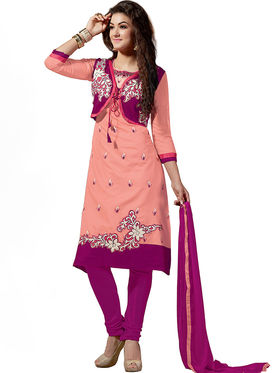 Thankar Embroidered Chanderi Cotton Semi-Stitched Suit� -Tas315-6312