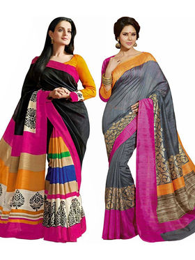 Pack of 2 Thankar Printed Bhagalpuri Saree -Tds137-229.230
