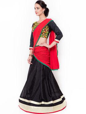 Triveni Pleasing Black Art Silk Semi Stitched Lehenga Choli_Ts13252