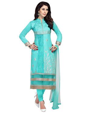 Triveni's Blended Cotton Embroidered Dress Material -TSMDESK1052