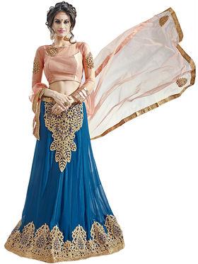 Triveni Embroidered Faux Georgette & Satin Blue Lehenga Choli-TSN82014