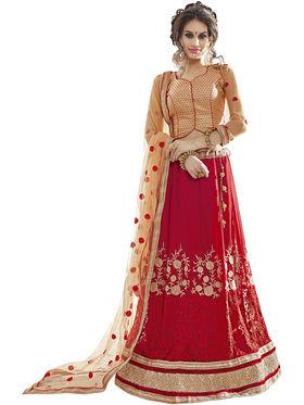 Triveni Embroidered Faux Georgette Red Lehenga Choli-TSN82020