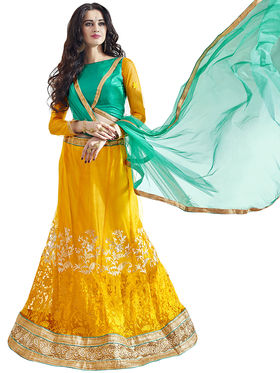 Triveni Embroidered Net & Satin Yellow Lehenga Choli-TSN82023
