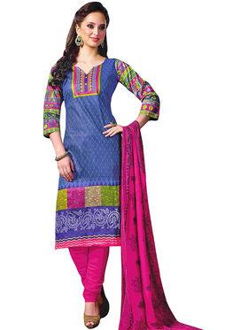 Triveni's Blended Cotton Printed Dress Material -TSRJVASK109