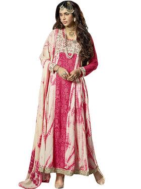 Triveni's  Georgette Net Embroidered Dress Material -TSVDMTSK1207
