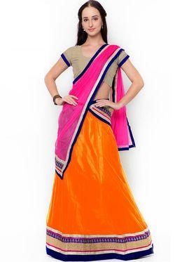 Triveni Pretty Orange Semi Stitched Net Lehenga Choli_Ts108
