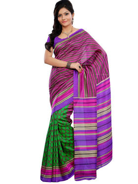 Triveni sarees Art Silk Printed Saree - Green - TSRISB606BA