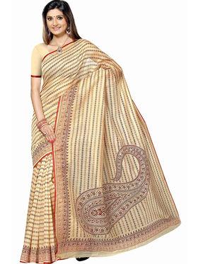 Triveni Blended Cotton Printed Saree - Beige - TSMRCCAN1001