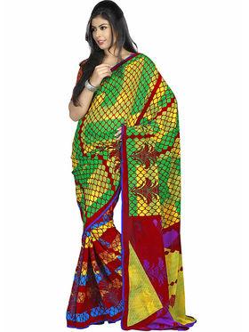 Triveni Faux Georgette Printed Saree - Multicolor - TSPORN4009b