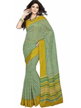 Triveni Bhagalpuri Silk Printed Saree - Green - TSSABE3009A