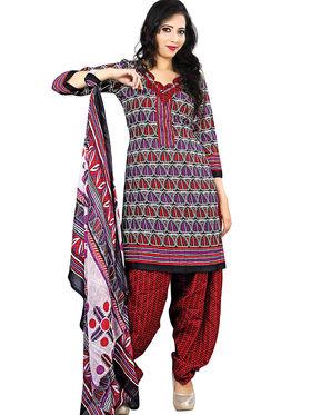 Triveni Blended Cotton Printed Dress Material - Multicolor - TSSDHSK1110