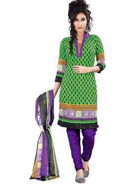 Triveni Blended Cotton Printed Dress Material - Green - TSSDHSK1301