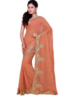 Triveni Faux Georgette Embroidered Saree - Orange - TSSWGDG547