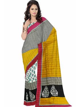 Triveni Art Silk Printed Saree - Yellow - TSVF10920