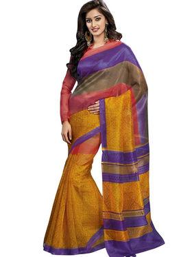 Triveni sarees Supernet Printed Saree - Multicolor