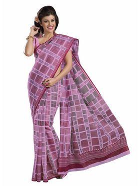 Triveni sarees Cotton Printed Saree - Pink - TSMRCCRD412