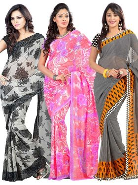 Pack of 3 Triveni Faux Georgette Printed Saree  - TSCO41