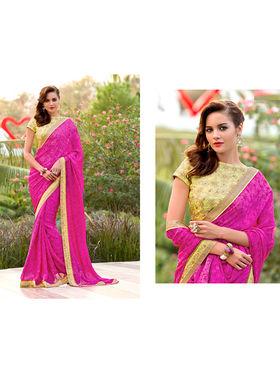 Nanda Silk Mills Embroidered Pink  Saree_VR-2205
