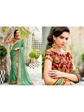 Nanda Silk Mills Embroidered Green Saree_VR-2211
