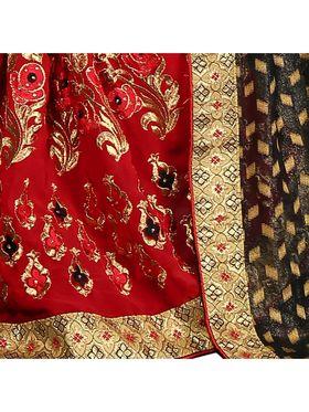 Khushali Fashion Embroidered Georgette Half & Half Saree_KF23