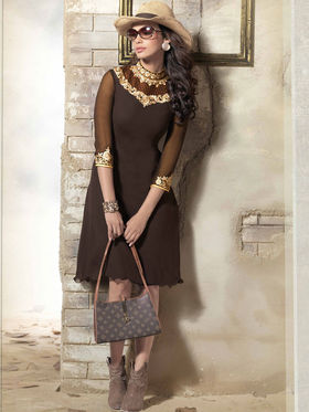 Viva N Diva 60 Gm Georgette Embroidered Kurti - Chocolate - 2016