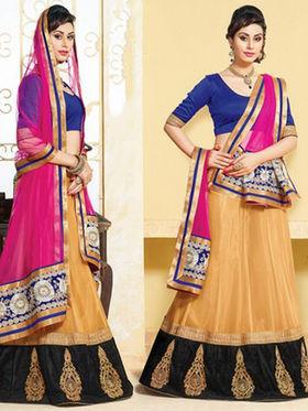 Viva N Diva Net Embroidered Lahenga - Beige