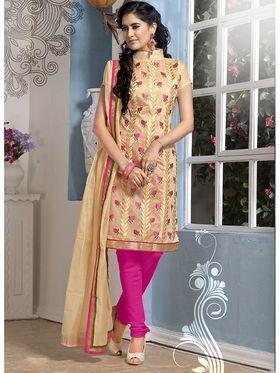 Viva N Diva Chanderi Cotton Embroidered Dress Material - Beige