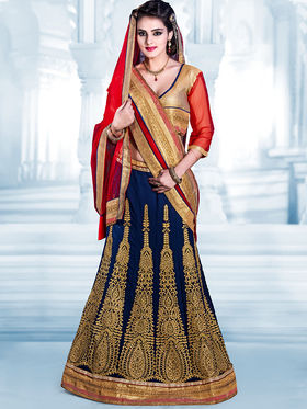 Viva N Diva Georgette Embroidered Lehenga - Navy Blue - 4