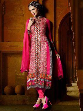 Viva N Diva Georgette Embroidered Dress Material - Pink