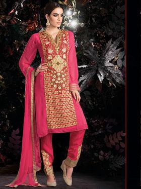 Viva N Diva Embroidered 2 in 1 Lehenga cum Salwar Suit - Pink - Aarvi-404