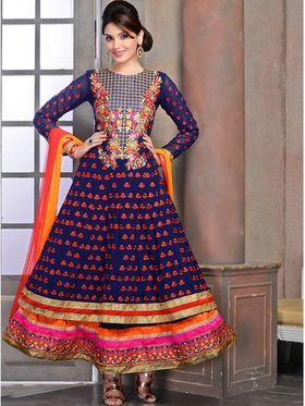 Viva N Diva Georgette Embroidered Dress Material - Blue